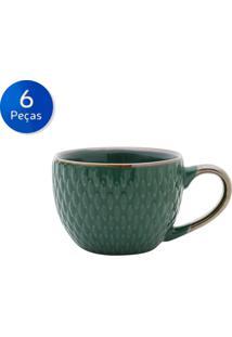 Conjunto De Xícaras Para Café 6 Peças 90 Ml 27609-Bon Gourmet - Verde