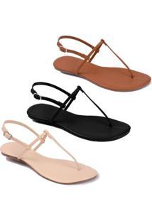 4678bee5bc Kit Rasteira Mercedita Shoes Verniz Feminina - Feminino-Caramelo+Preto