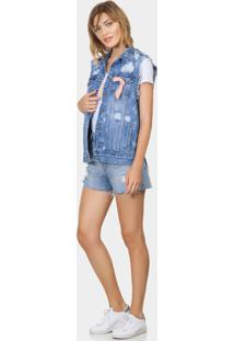 Colete Jeans Oversized Com Lenço Jeans - Lez A Lez