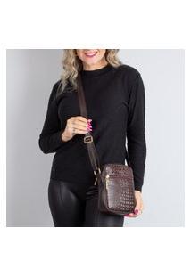 Bolsa Shoulder Bag De Couro Croco Pietra Café