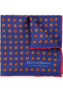 Gieves & Hawkes Cachecol De Seda Com Estampa - Azul