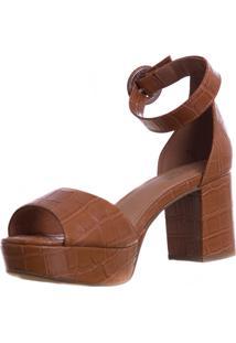 Sandália Meia Pata Butique De Sapatos Croco Caramelo