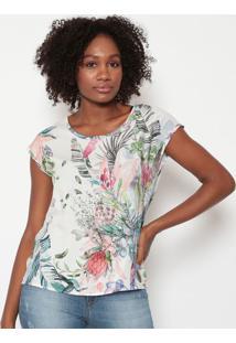 Blusa Floral- Branca & Verde- Tritontriton