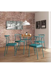 Mesa 1527 Vidro Incolor Com 4 Cadeiras Color 1708 Turquesa Carraro