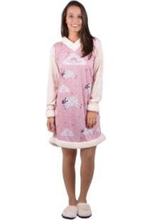 Camisetão Banna Hanna Pijama - Feminino-Rosa