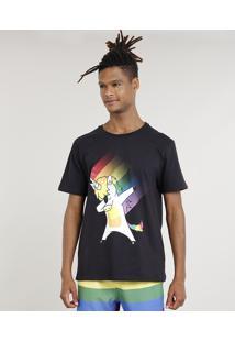 Camiseta Masculina Carnaval Unicórnio Manga Curta Gola Careca Preta