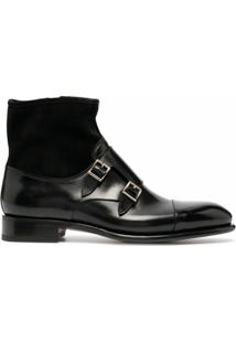 Santoni Ankle Boot Com Tira Dupla - Preto