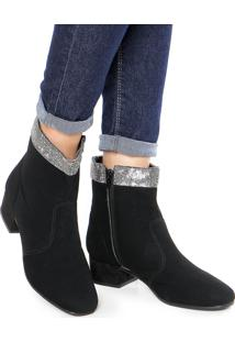 Bota Dafiti Shoes Strass Preta