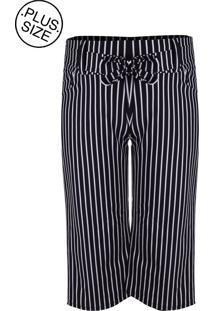 Calça Outlet Dri Pantalona Casual Estampado Bengaline Cós Alto Listrado