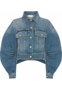 Alexander Mcqueen Jaqueta Jeans Com Mangas Contrastantes - Azul