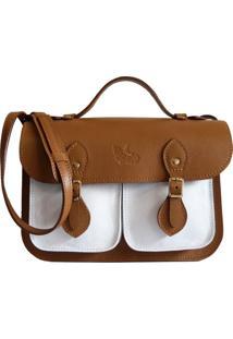 Bolsa Line Store Leather Satchel Pockets Pequena Couro Bicolor Caramelo X Branco - Caramelo - Feminino - Dafiti