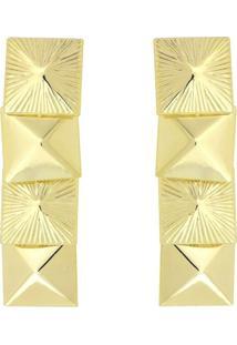 Brinco Quadrado Com Detalhe Fosco E Liso 3Rs Semijoias Dourado