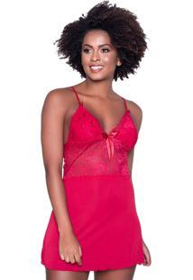 Camisola Click Chique Alã§A Sobreposiã§Ã£O Renda Vermelho - Vermelho - Feminino - Dafiti