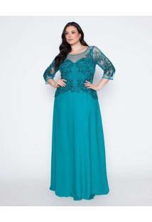 Vestido Almaria Plus Size Pianeta Longo Tule Verde