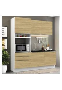 Cozinha Compacta Madesa Lux Com Armário E Balcáo 5 Portas 3 Gavetas - Branco/Carvalho Marrom