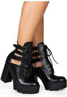 Ankle Boot Show Rio Ariana Napa Feminino - Feminino-Preto