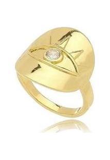 Anel Kaka Corrêa Enigma Olho Grego Com Zircônia No Banho De Ouro 18K - Feminino-Dourado