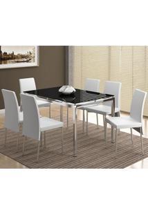 Conjunto Mesa 346 Com Vidro Preto Cromada Com 6 Cadeiras 306 Cromada/Branca Carraro