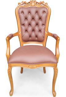 Cadeira Com Braço Luís Xv Capitonê Entalhada Madeira Maciça Design De Luxo