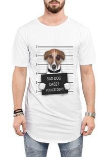 Camiseta Criativa Urbana Long Line Oversized Engraçadas Bad Dog Preso - Masculino