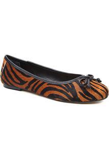 Sapatilha Couro Shoestock Pelo Zebra Feminino - Feminino-Zebra