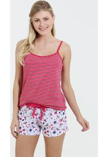Pijama Feminino Listrado Short Doll Floral Marisa