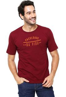 Camiseta Rgx Faculdade Da Vida Bordô