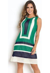 Vestido Em Tricô Verde Marinho E Off White