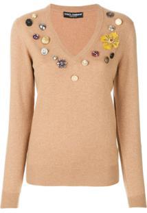 Dolce & Gabbana Blusa Com Patch Floral - Marrom