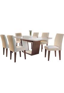 Sala De Jantar Sofia 1.80M Com 6 Cadeiras Café/Off White Veludo Creme