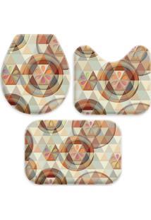 Jogo Tapetes Love Decor Para Banheiro Buttons And Triangles Multicolorido Único - Kanui