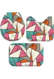 Jogo Tapetes Love Decor Para Banheiro Abstract Multicolorido Único - Kanui