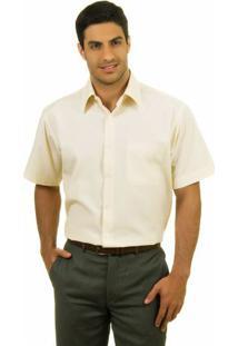Camisa Social Masculina Bege Lisa - 1