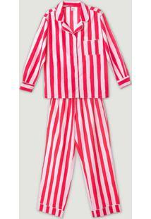 Pijama Feminino Longo Em Algodão Com Botões