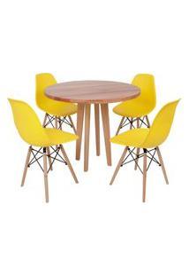 Conjunto Mesa De Jantar Em Madeira 90Cm Com Base Vértice + 4 Cadeiras Eiffel - Amarelo