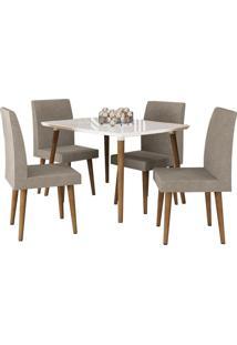 Mesa De Jantar Com 4 Cadeiras Ágata Pés Palito Off White Com Pena Caramelo Rv Móveis