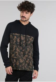 Camiseta Masculina Com Estampada Camuflada E Capuz Manga Longa Preta