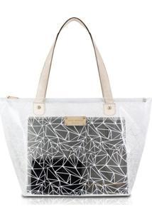 Bolsa Shopper Transparente Jacki Design Crystal Branco