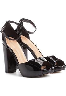 Sandália Shoestock Meia Pata Salto Grosso Feminina - Feminino-Preto