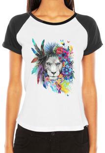 Camiseta Criativa Urbana Raglan Leoa Psicodélica Branca E Preta