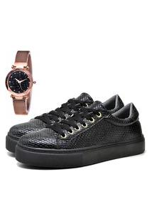 Tênis Sapatênis Casual Flatform Elegant Com Relógio Gold Feminino Dubuy 308La Preto