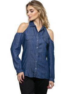 Camisa Pele Macia Jeans Com Buraco No Ombro Azul