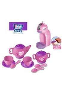 Brinquedo Infantil Cafeteira Expresso Kids Colors + Kit Chazinho Legal 18 Pecas