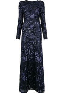 P.A.R.O.S.H. Vestido Longo Com Paetês - Azul