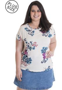 Blusa Feminina Plus Size Viscose Estampada 12818 Bege Claro