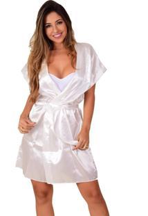 Robe Feminino Vip Lingerie Acetinado Branco - Kanui