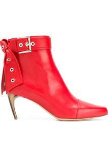 Alexander Mcqueen Buckle Ankle Boots - Vermelho