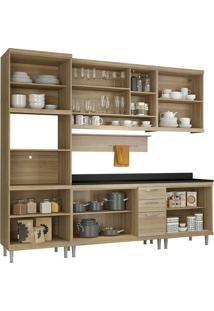 Cozinha Compacta 7 Peças Com Tampo 5815-S8T - Sicília - Multimóveis - Argila / Preto