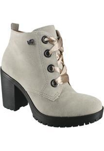 Bota Via Marte Ankle Boot Feminina - Feminino-Cinza Claro