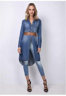 Camisa Comfort Jeans Alongada Lança Perfume - Feminino-Azul